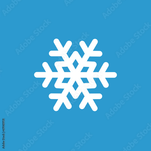 Photo  snowflake icon, white on the blue background .