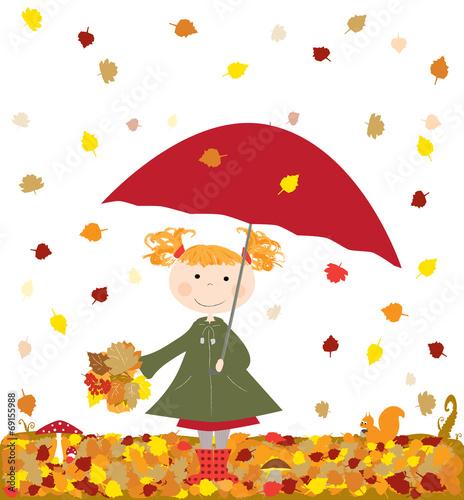 Fototapeta jesień, dziewczynka z parasolką - wektory obraz