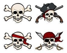 Vector  Cartoon Pirate Skull In Red Bandana With Cross Swords