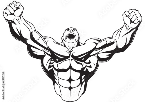 Carta da parati Bodybuilder raises muscular arms