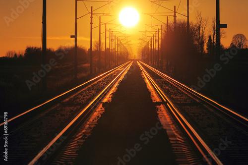 Poster Voies ferrées Train cargo in railroad