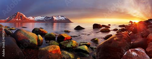 Fotografie, Obraz  Ocean coast at sunset, panorama, Norway