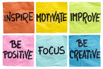 Fototapetainspire, motivate, improve notes