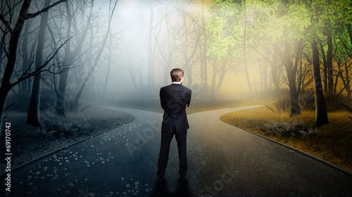Fotografia, Obraz Geschäftsmann muss sich bei einer Weg-Gabelung entscheiden