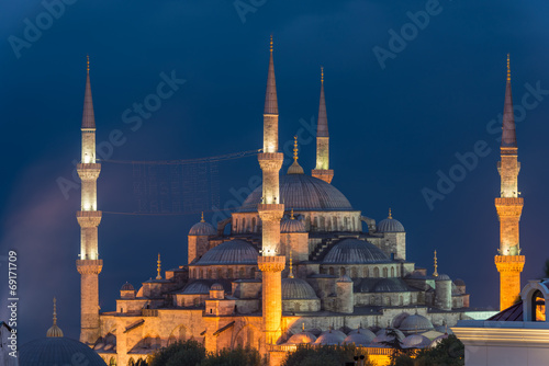 Blue Mosque at Night Poster