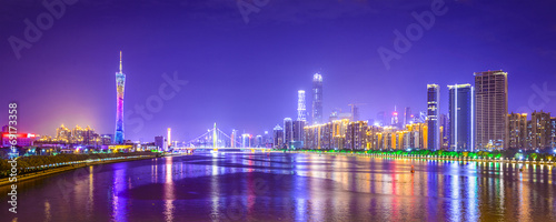 Canvas Prints Violet Guangzhou, China Panorama Skyline on the Pearl River