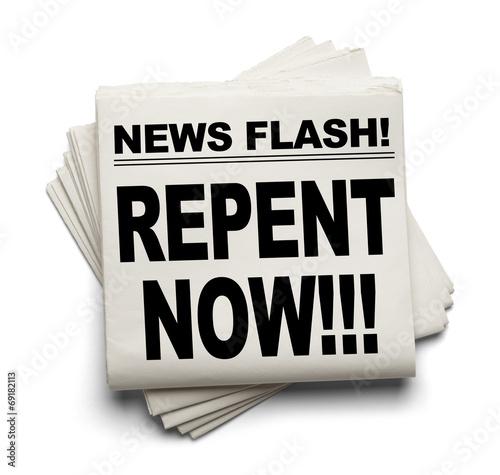 Fotografie, Obraz  News Repent Now