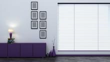 Purple Empty Interior With Bli...