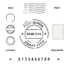 Set Of Post Stamp Symbols, Vector Illustration