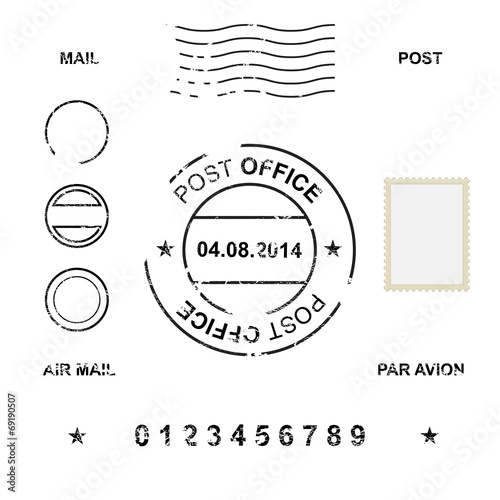 Fototapeta Set of post stamp symbols, vector illustration obraz