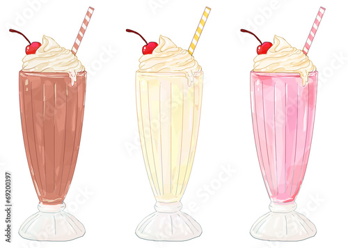 Fotografía Milkshakes - chocolate, vanilla/banana and strawberry