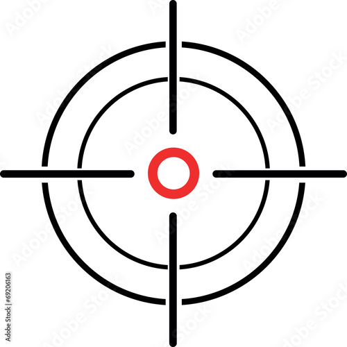 Fotografía Illustration of a crosshair reticle on a white background
