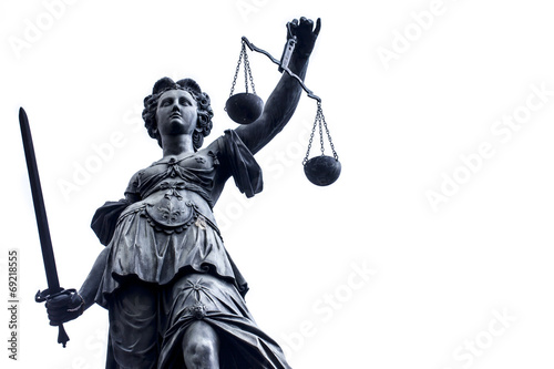 Foto auf Gartenposter Historische denkmal Lady Justice Stature n Germany, Frankfurt