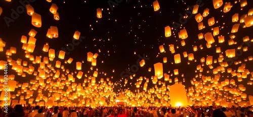 Fotografie, Obraz  People release Paper Sky Lantern in Yee Peng Festival