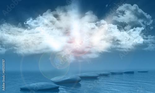 Fotografie, Obraz  Sunny blue sky over sea with stepping stones