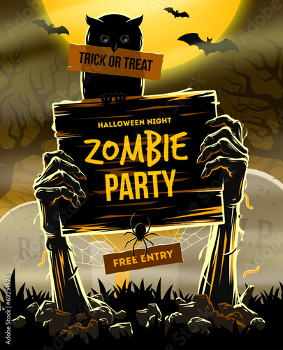 Canvastavla Halloween vector illustration - invitation to zombie party