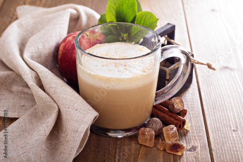 Fotografie, Obraz  Apple pie latte with cinnamon and syrup