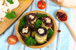 Fried aubergine in a bowl with cottage cheese, bread and