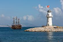 Tourists Enjoying Sea Journey On Vintage Sailships  In Alanya