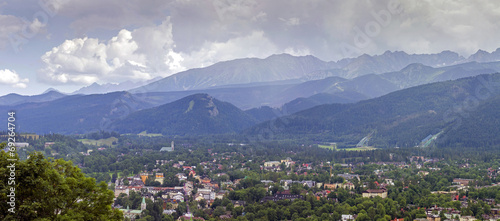 panorama of zakopane city and tatra mountains