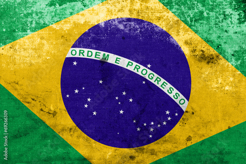 Brazil Flag with a vintage and old look Poster