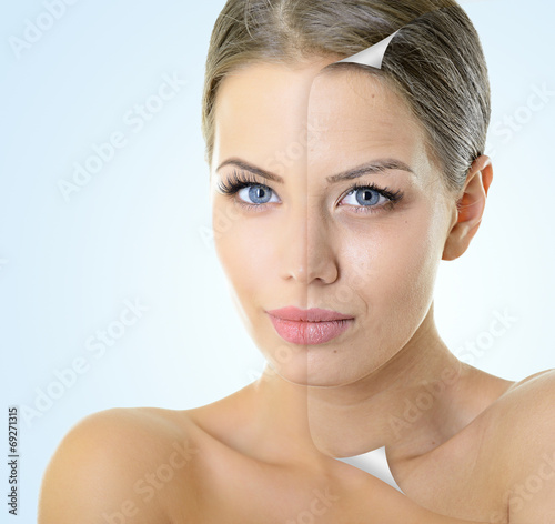 Fotografie, Obraz  Aging and youth concept, beauty treatment, portrait of beautiful