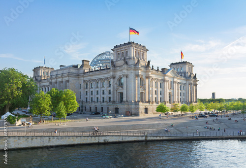 Reichstag building, view from Spree river in Berlin, Germany