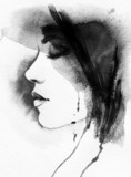 woman portrait  .abstract  watercolor .fashion background - 69275550