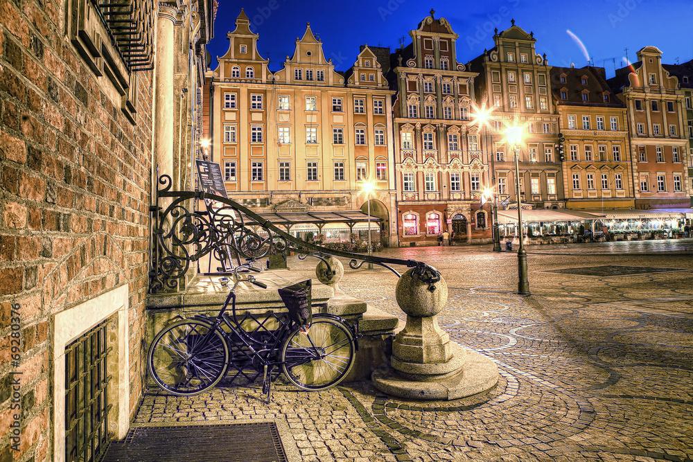 Fototapety, obrazy: Wrocław Stare Miasto wieczorem