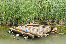 Wooden Raft In The Water