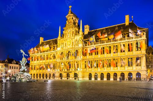 Poster Antwerp Antwerp, Grote Markt and town hall, Belgium