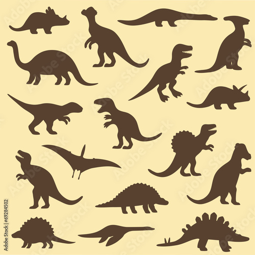 vector set silhouettes of dinosaur,animal illustration Poster