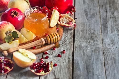 Zdjęcie XXL Granat, jabłka i miód tło