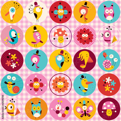 cute characters animals flowers circles nature pattern