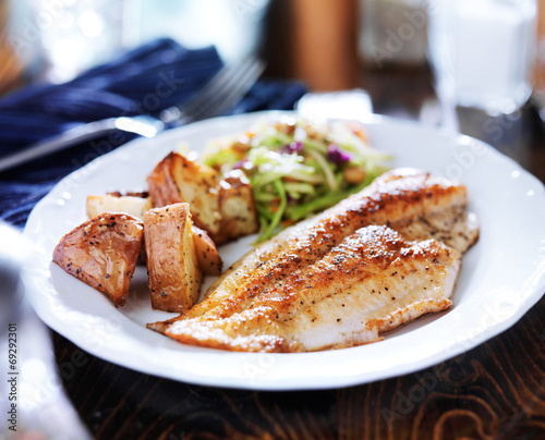 Tuinposter Vis pan fried tilapia with asian slaw and roasted potatoes
