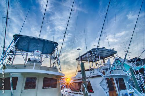 Canvas-taulu View of Sportfishing boats at Marina
