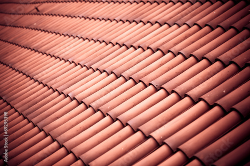 Fotografie, Obraz  Red tiles roof texture architecture background