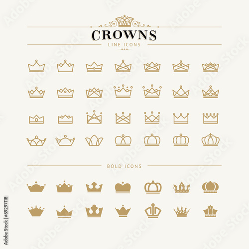 Set of crown line and bold icons Poster Mural XXL