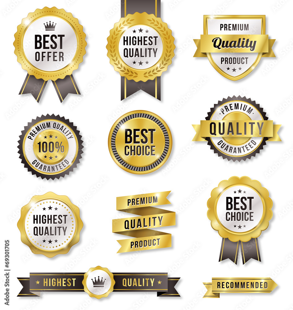 Fototapety, obrazy: Golden Vector Commercial Labels
