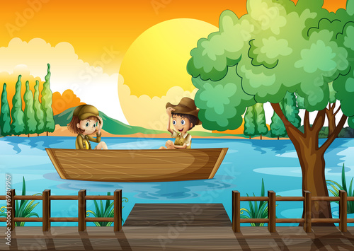 Canvas Prints River, lake A boy and a girl at the boat
