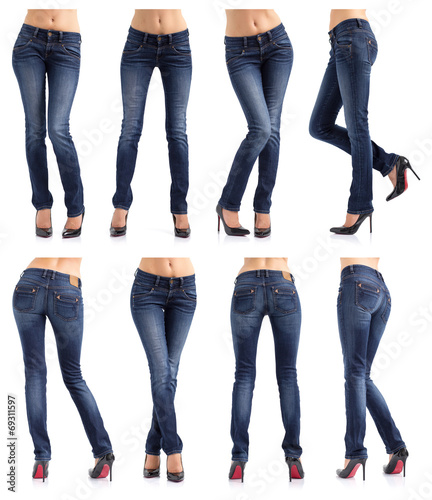Fototapeta  Collection of women's jeans in different poses