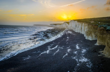 White Cliffs At English Coast At Sunset