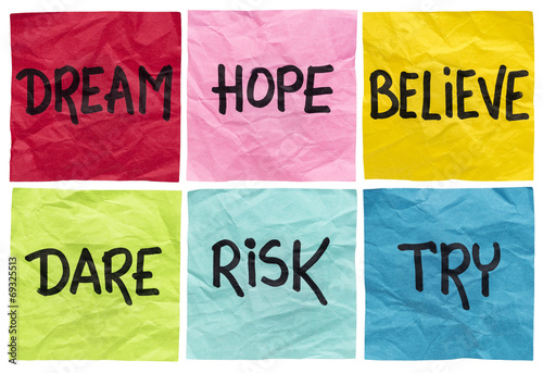 dream, believe, risk, try Poster
