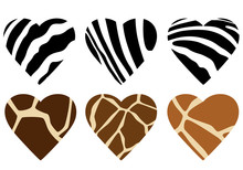 Animal Hide Print Hearts