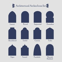 Set Of Common Types Of Archite...