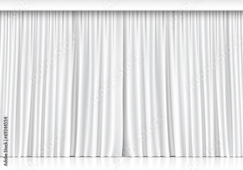 Vector White Curtains Isolated on White Background Wallpaper Mural