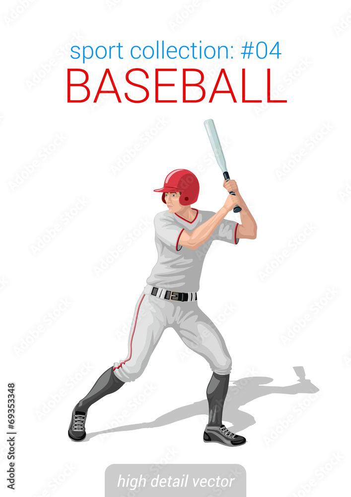 Photo Art Print Sportsmen Vector Collection Baseball Batter Bat Position Sport Ukposters