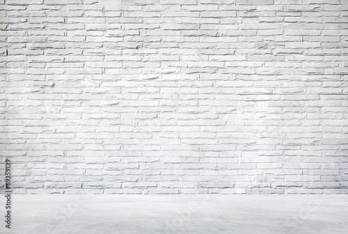 Fotografie, Obraz  White Brick Wall and Cement Floor
