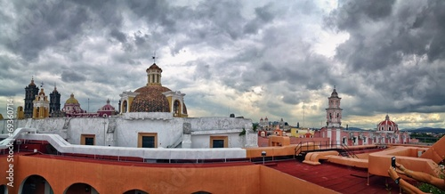 City View of Puebla, Mexico on a rainy, cloudy day
