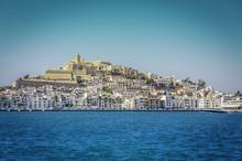 Ibiza Eivissa Old Town With Blue Mediterranean Sea City View